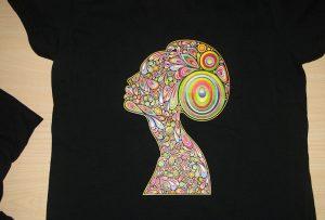 Black t-shirt printing sample by A2 t-shirt printer WER-D4880T